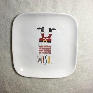 Rae Dunn WISH Santa Christmas Ceramic Plate NWT